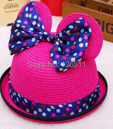 Children's spring summer  hat with bow  girl baby cartoon cap flanging edging bucket hat snapback