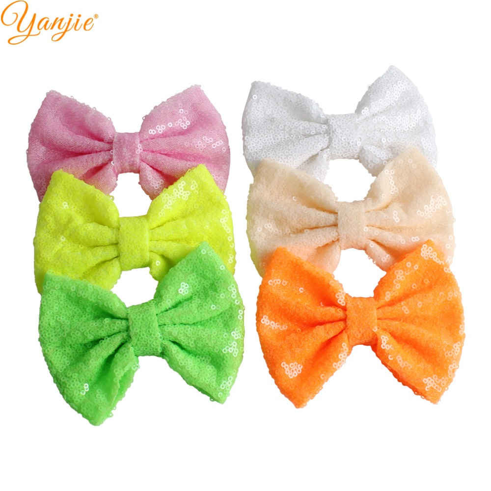 DHL 150pcs lot 5 Sequin Bow Solid Knot Gold Silver Hair Bow Without Clips For Girls