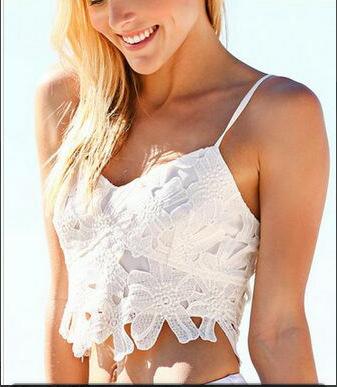 2016 Camiseta Sin Mangas de Encaje Pequeño Chaleco Atractivo de La Manera Hermosa de Las Mujeres Pequeño Chaleco de Espalda Escotada Superior Desgaste Interno