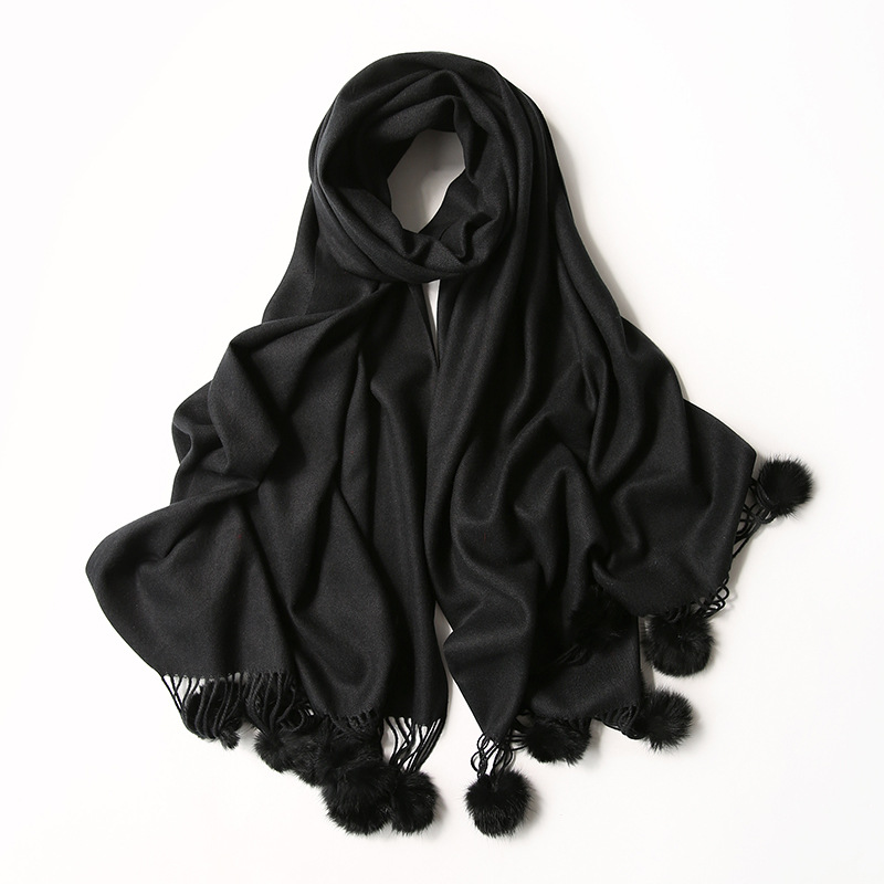 Women Plain Solid Tassel Cashmere Shawl   Scarf   with Rabbit Fur Pom Pom Lady Winter   Wrap   Pashmina Poncho Hijab Echarpe Foulards