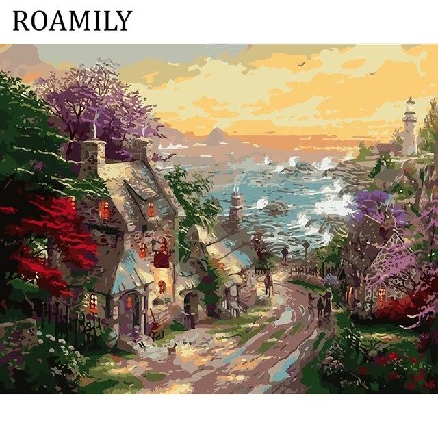 Roamily Diy Piękny Krajobraz Obraz Olejny Na Płótnie Farbami