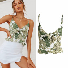 2019 new summer women blouse tops casual sleeveless spaghetti strap v neck print ladies blouses bow tie chic female blusas недорого
