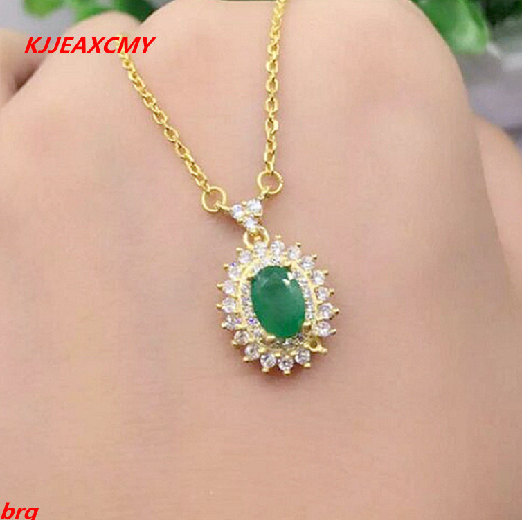 KJJEAXCMY boutique jewelry,925 Silver Natural Colombian Emerald Women's Necklace