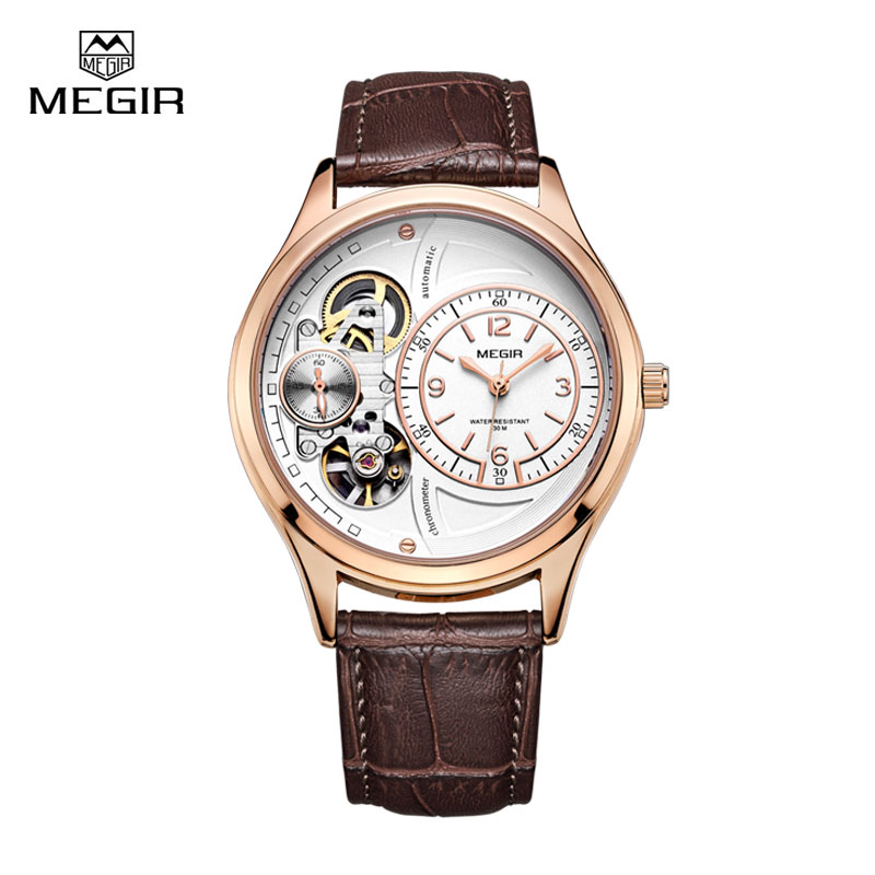 Megir Brand Luxury Men Quartz Watches Clock Sport Waterproof Chronograph Leather Watchband Wristwatch for Man Relogio Masculino megir mens watches leather strap square dial luxury quartz watch clock waterproof sport chronograph wristwatch montre for man