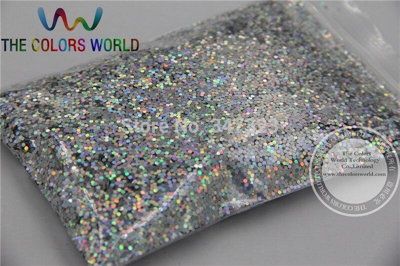 TCA101 голографическая Алмазная Серебряная Шестигранная форма 1 мм Размер блестки разбрызгивающие Блестки для нейл-арта и других аксессуаров DIY
