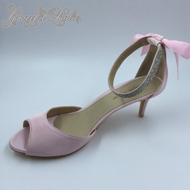 Pink Satin Wedding Sandal Pumps Crystals Ankle Strap Satin Bow Back High Heels Peep Toe Cut-out Bridal Party Shoes Real Photo