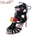 Cuero auténtico gladiador sandalias mujeres new sexy tacones lejanos pío mujeres del estilo de roma de las mujeres del dedo del pie zapatos de vestido de partido ocasional negro zapatos