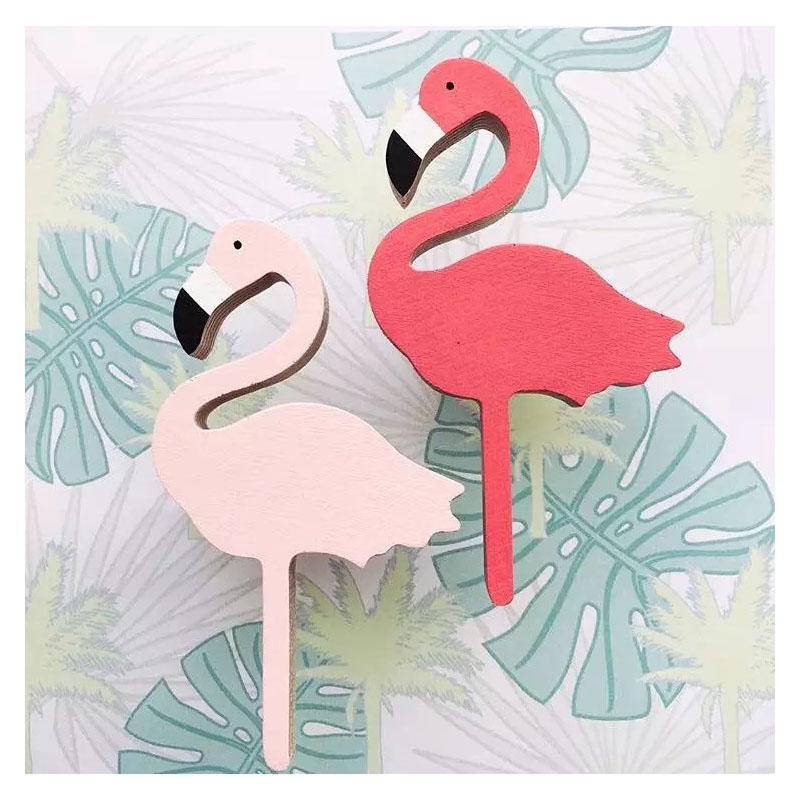 Cute flamingos wooden clothes hook for kids room wall for Wall hooks for kids room