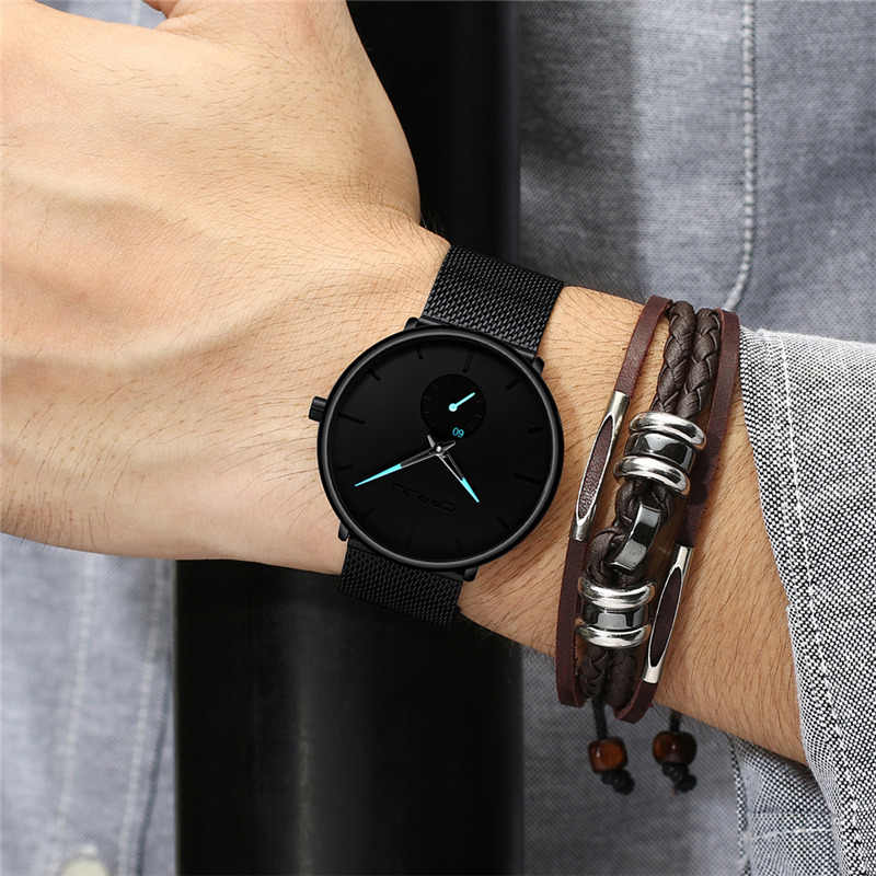 CRRJU 高級ブランド腕時計超薄型ステンレス鋼防水スポーツウォッチメンズ腕時計クラシックメンズ腕時計時計リロイ hombre