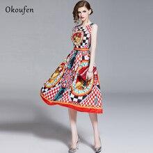 OKOUFEN Summer WomenS Dress European And American High-Quality Fashion Inlaid Gemstone Print Sleeveless In 2019