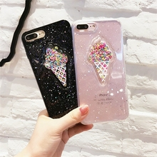 3D Dynamic Ice Cream Phone Case For iphone X XS Max XR 6 6s 7 8 Plus Fashion Glitter Bling Back Cover Lovely Cases Capa