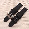 Calidad Genuina Banda de reloj de Cuero 22mm correa de cuero Para Panerai 24mm Negro Repuesto
