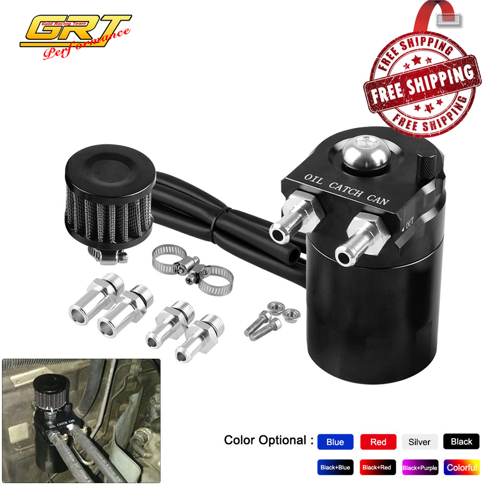 Free Shipping Baffled Aluminum Oil Catch Can Reservoir Tank / Oil Tank With Filter Universal  OCC025