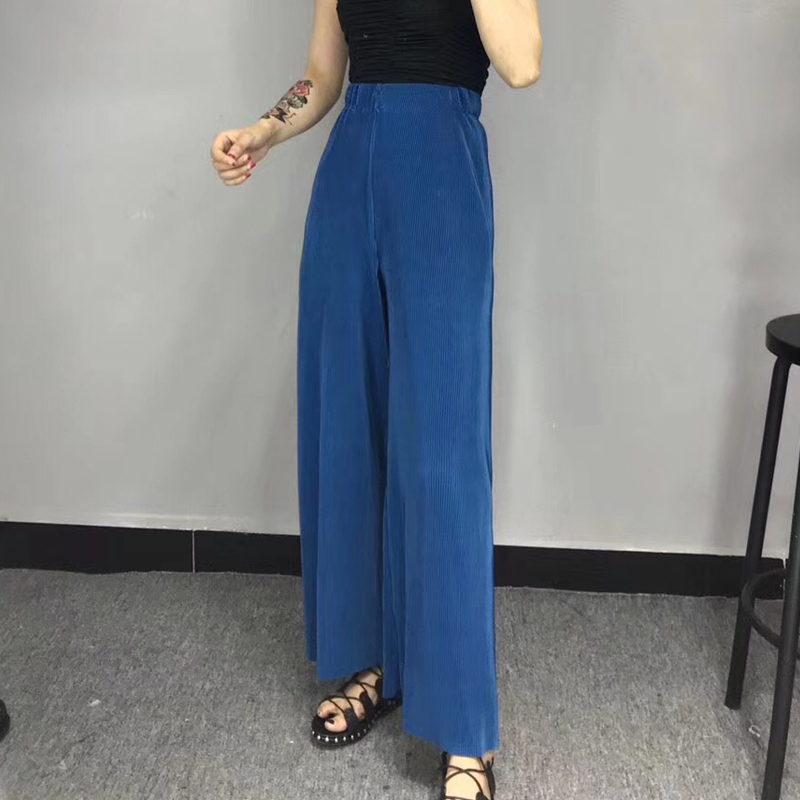 2018 new spring high waist solid color dark blue loose   wide     leg     pants   women trousers fashion tide all-match