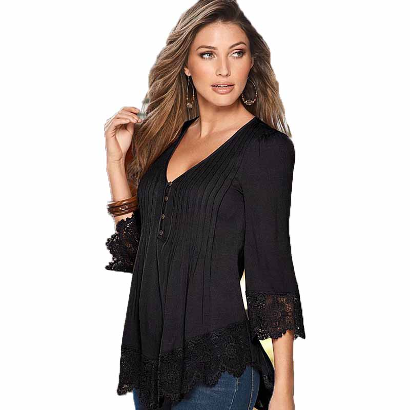 Women's Clothing Hospitable Womens Blouse Sexy Crocheted Lace Solid V Neck 3/4 Sleeve Shirts Tops Sexy Pleated Blouse Female Blusa Yf979989