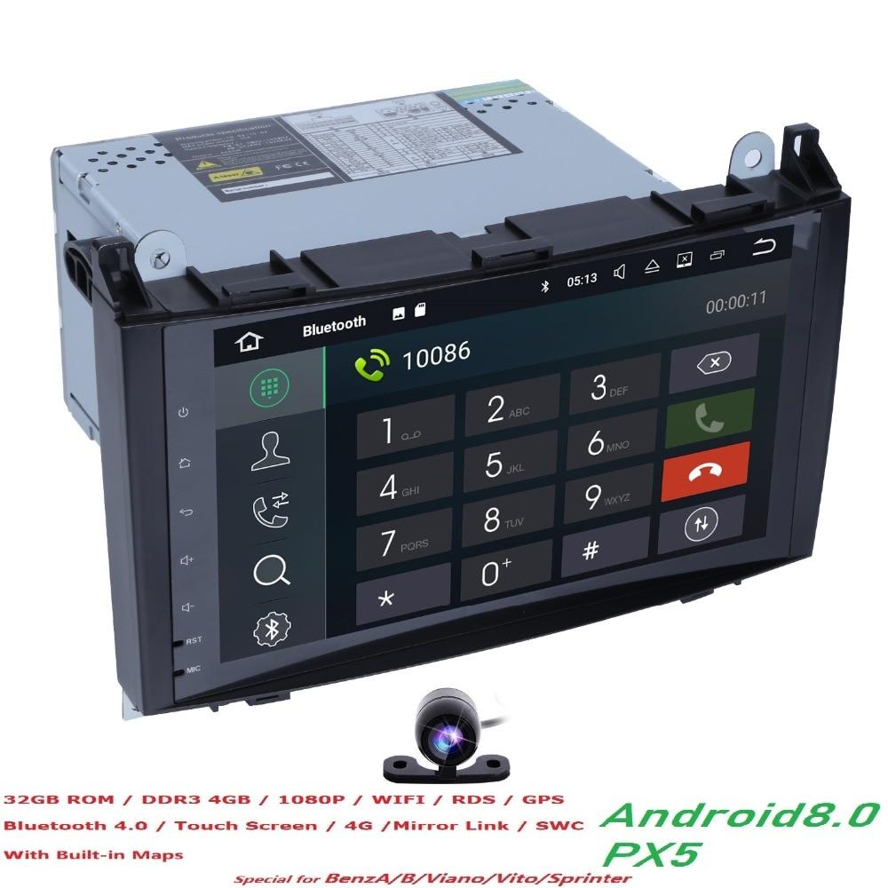 4 + 32 PX5 Car Multimedia Player GPS Android 8.0 2 Din Per Mercedes/Benz/Sprinter/B200 /B-class/W245/B170/W209/W169 Wifi Autoradio