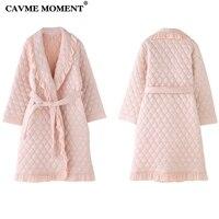 CAVME 2019 Elegant Winter Robe for Women Femme Ladies Bathrobe Thicken Long Robes Pink Color Night Gown Dressing Nightwear