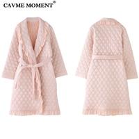CAVME Elegant Winter Robe for Women Femme Ladies Bathrobe Thicken Long Robes Pink Color Night Gown Dressing Nightwear Homewear
