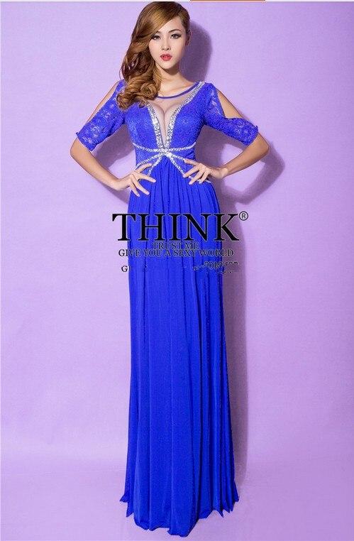 Распродажа, кружевное Длинное нарядное платье трапециевидной формы с v-образным вырезом Вечерние платья vestido de festa rendo robe de soiree Abiti da sera H0649 - Цвет: Cobalt