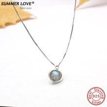 Настоящее S925 чистое серебро, лабрадор ожерелье для женщин ювелирные украшения Природный камень бижутерия ручной работы femme