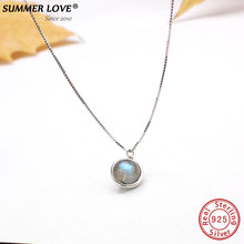 Genuine S925 Sterling Silver Labradorite Pendant Necklace Para Mulheres Fine Jewelry Gemstone Natureza Handmade bijoux femme(China)