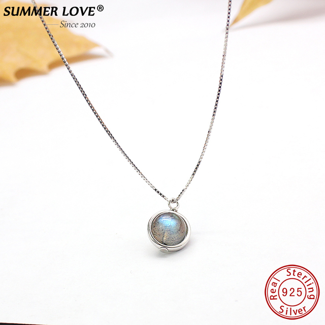 Genuine S925 Sterling Silver Labradorite Pendant Necklace For Women Fine Jewelry