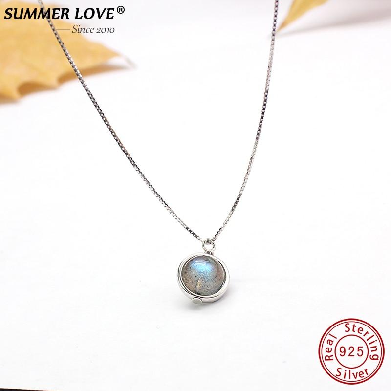 Genuino s925 labradorita colgante collar para las mujeres Joyería fina piedra preciosa naturaleza hecho a mano bijoux Mujer