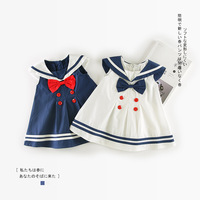 Summer Baby Girl Dress Cute Bow Cotton Navy Dress 0 3Y Newborn Dresses For Baby Girls