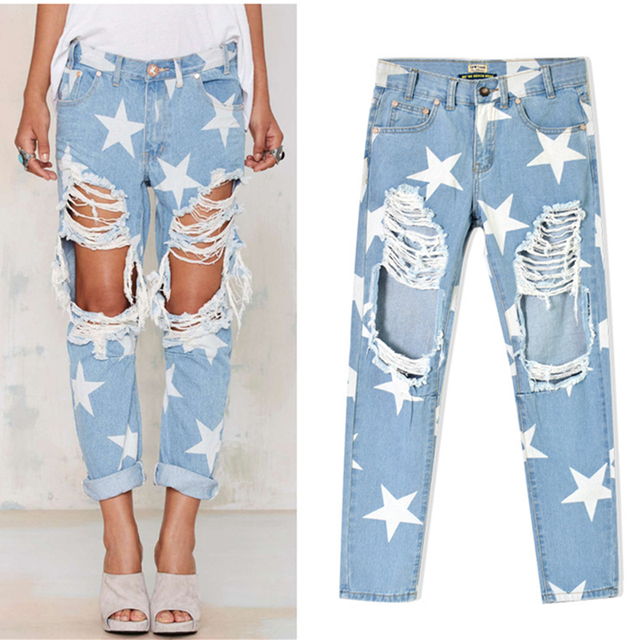 Aliexpress.com : Buy Fashion printing stars Hole jeans woman high ...
