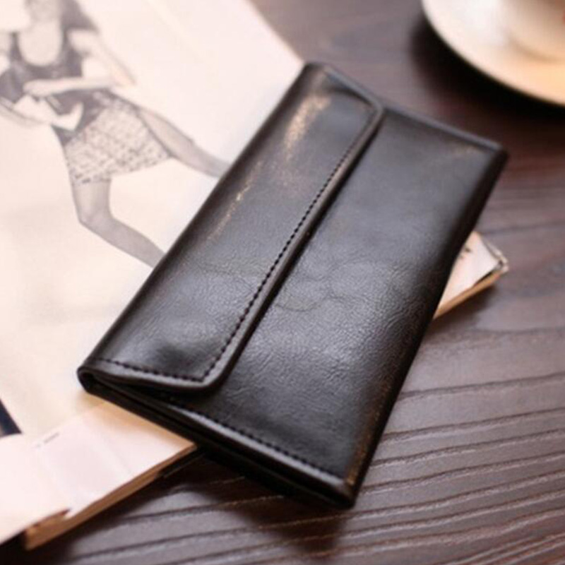 Long Wallet Female Leather Buckle Simple Business Leather Thin Wallet