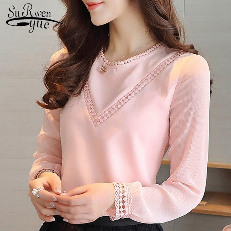 Fashion women blouses 2018 long sleeve pink chiffon women blouse shirt casual ladies tops blusas feminine blouses shirt 620G 30