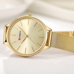 Image 4 - CURREN נשים שעוני יוקרה שעון יד relogio feminino שעון לנשים ממילאנו פלדה ליידי רוז זהב קוורץ גבירותיי שעון חדש