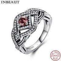 Inbeaut древних стерлингового серебра 925 Красный Halo каменное кольцо женский Винтаж серебро, кубического циркония панк кольцо Для женщин Модные...
