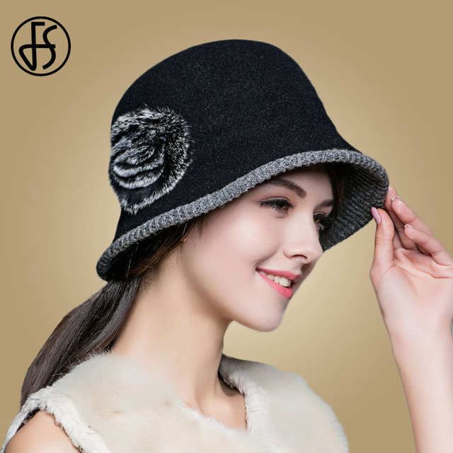 FS Fashion Black Wool Hat Wide Brim Winter Hats For Women Elegant Rex  Rabbit Fur Flower Warm Caps PomPon Lady Church Fedoora 85941eb209