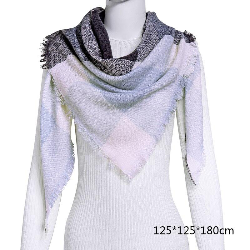 Горячая Распродажа, Модный зимний шарф, Женские повседневные шарфы, Дамское Клетчатое одеяло, кашемировый треугольный шарф,, Прямая поставка - Цвет: B1