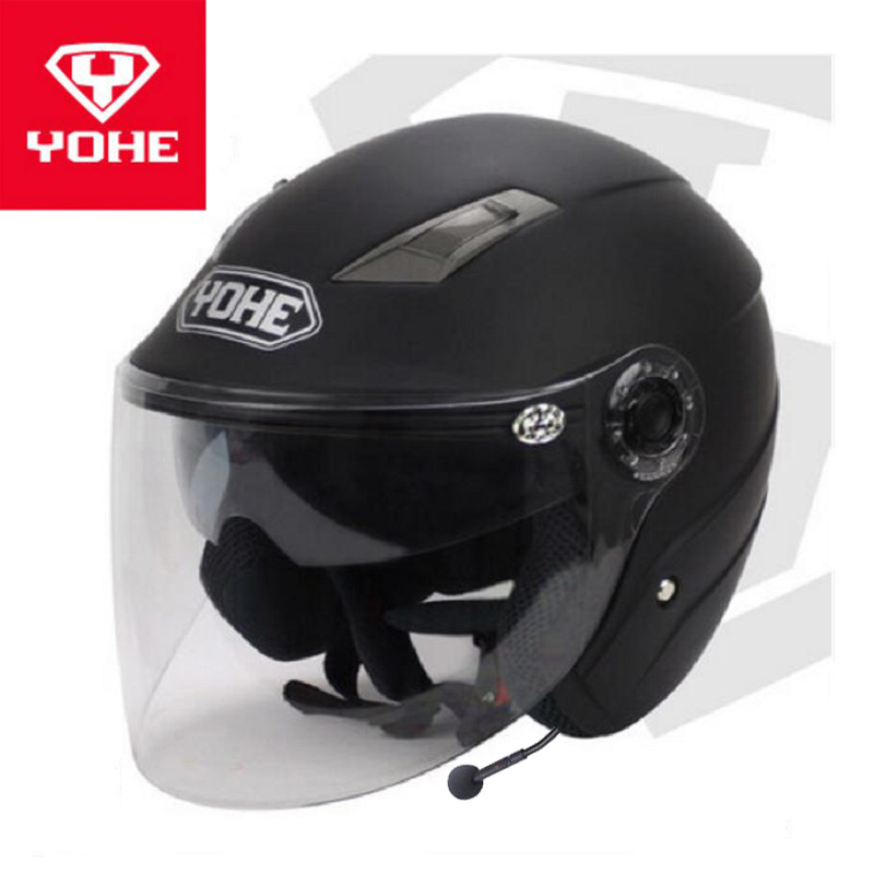 2018 Summer New YOHE Double lens Half Face Motorcycle Helmet Half cover Motorbike helmets with Bluetooth of ABS PC Lens visor