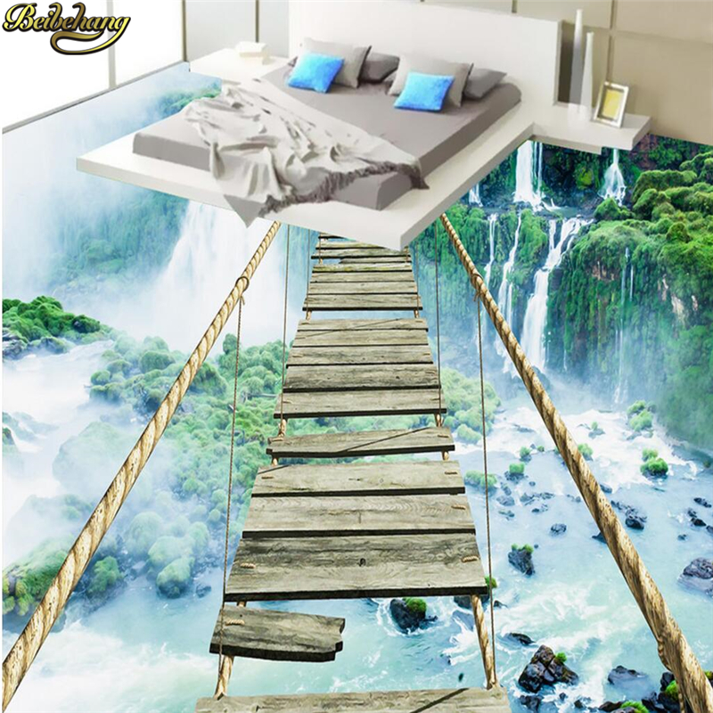 цены beibehang Custom Photo Wallpaper Floor Paintings Sticky Landscape Waterfall Adventure Rope Wooden Bridge 3D Floor