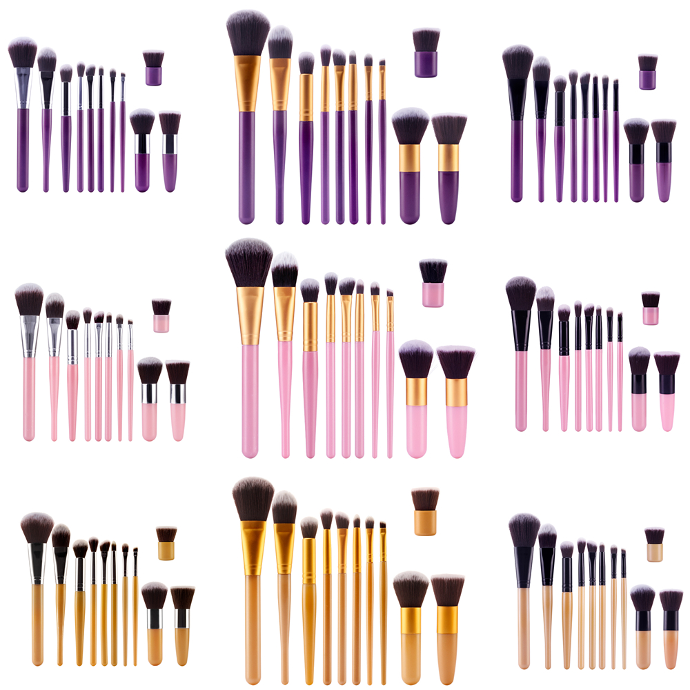 11pcs Professional Makeup Brushes Set Purple Plastic Super Soft Cosmetic Eyeshadow Foundation Concealer Make up Brush Set Kabuki free shipping durable 32pcs soft makeup brushes professional cosmetic make up brush set