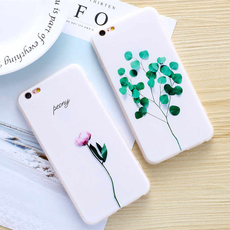 Funda con estampado de flores THREE-DIAO para iPhone 6 6s 7 8 Plus funda protectora de silicona suave Floral para iPhone 5 5S SE X