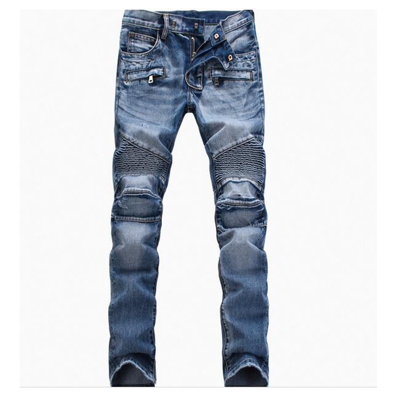 Jeans Men Vintage Slim Straight Biker Jeans Casual Slim Pant Male Distressed Denim Pant Plus Size