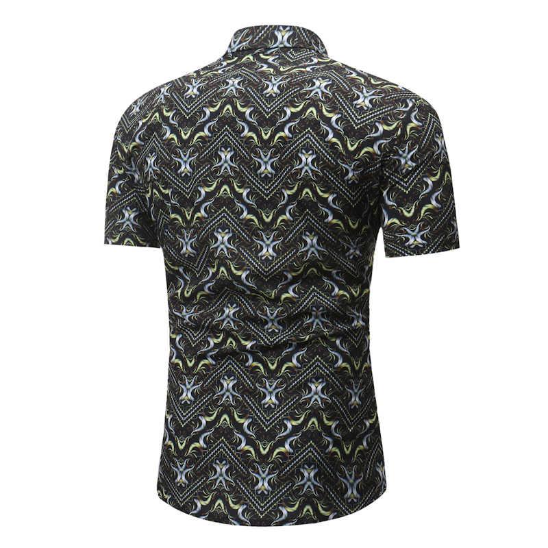 Для мужчин s летние шорты рукавами футболка с цветочным принтом 2018 Фирменная Новинка Повседневное Гавайский платье рубашка Для мужчин Пляжные рубашки мальчиков Camisa социальной Masculina