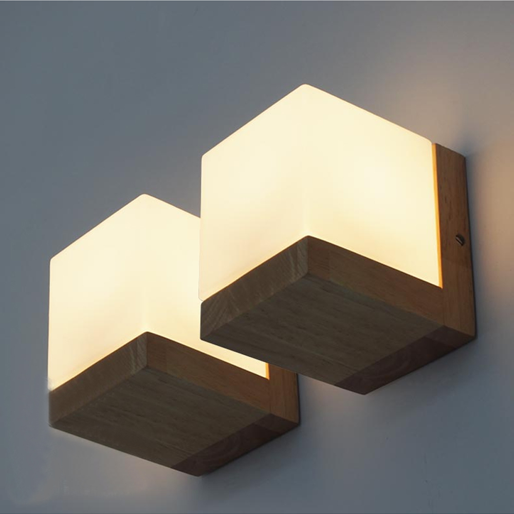 Modern Oak Wood Cube Sugar Shade Wall Lamp Bedroom Wooden Glass ... for Diy Wall Sconce Shade  67qdu
