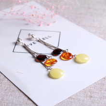 JIUDUO Pure natural amber beeswax earrings earrings earrings fashion pretty 100% 925 sterling silver factory outlet
