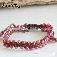 2014 Summer Red Crystal Beads Nylon Friendship Wrap Bracelet Christmas Gift