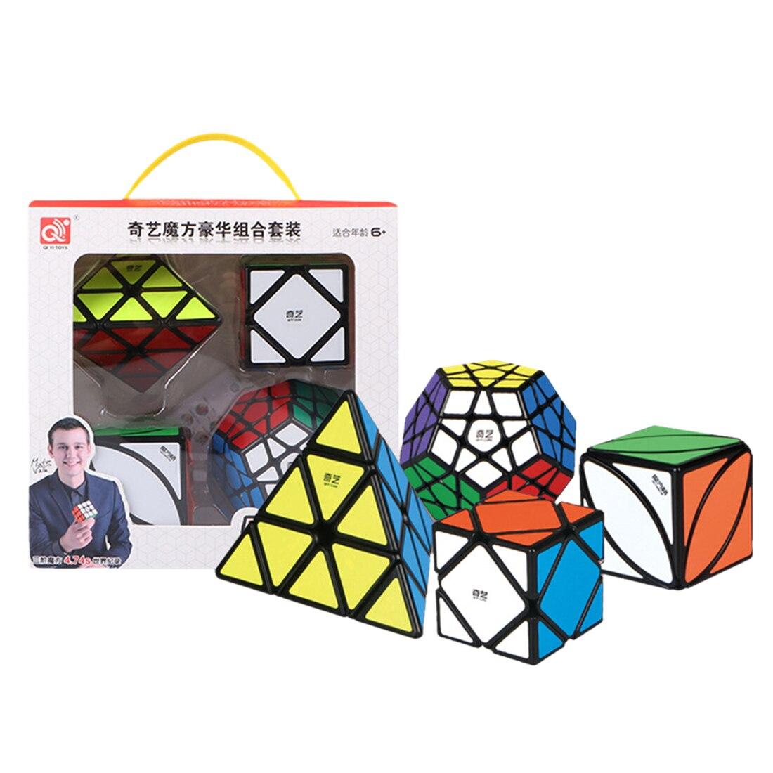 QIYI 12 lados inclinación Lvy Cubo mágico Cubo rompecabezas velocidad Set negro profesional Cubo Magico juguetes para niños con caja de regalo