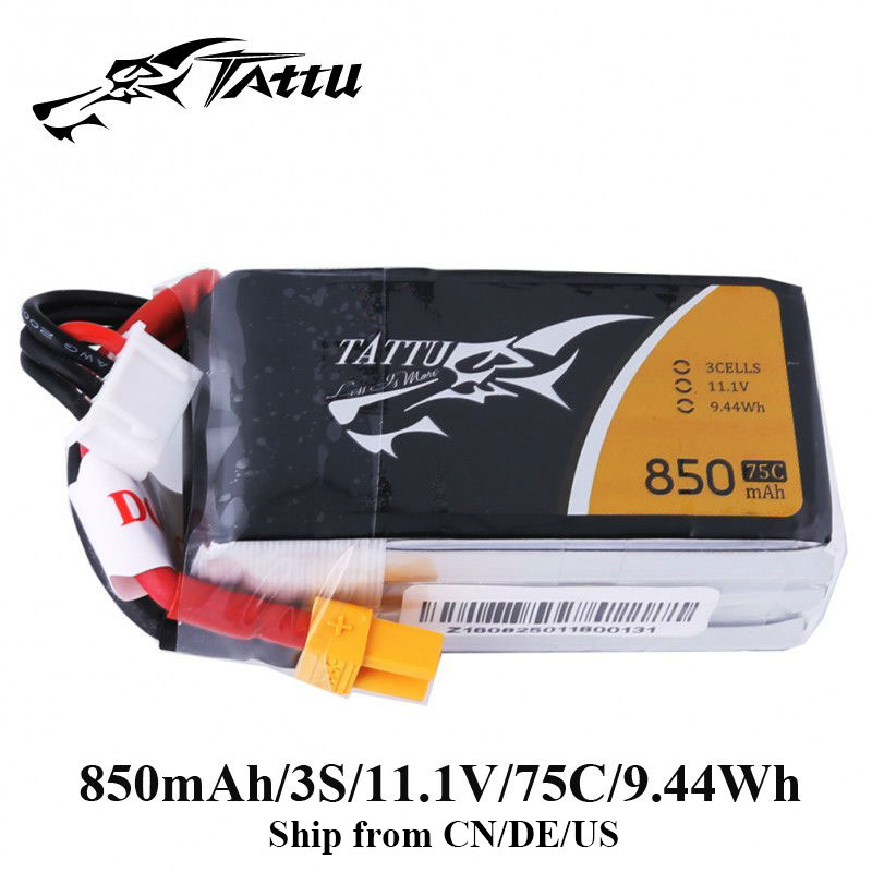 TATTU Lipo Battery 11.1v 850mAh Lipo 3s 75C RC Battery with XT60 Plug Batteries for FPV 180 150 Size Quadcopter RC Drones tattu lipo battery 22 2v 22000mah lipo 6s 25c rc battery with as150 xt150 plug batteries for quadcopter drones helicopter