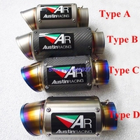 Universal Inlet 51mm 61mm 63mm 65mm Customized AR Motorcycle Exhaust Muffler Carbon Fiber And Titanium Alloy