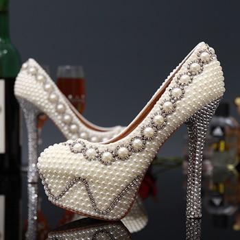 Handmade Gorgeous Super High Heel Shoes Imitation Pearl Rhinestone Shoes White Color Wedding Dress Shoes Bridal Shoes
