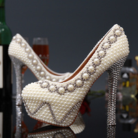 Handmade Gorgeous Super High Heel Shoes Imitation Pearl Rhinestone Shoes White Color Wedding Dress Shoes Bridal Shoes
