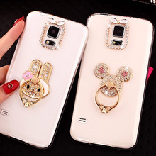 Case For LG Q6 Q8 G7 V30 Cover Fashion Glitter Bling Diamond Ring Holder Stand Clear Soft Shockproof TPU Cases X Power 2